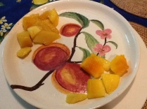 Peach plate with mango