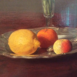 Detail of Henri Fantin-Latour's Lemon, Apple, Orange, and Tulips, 1865