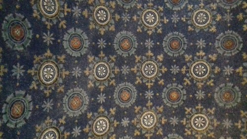 "Ceiling in Mausoleum of Galla Placidia next to the Church of Santa Croce, inspiration of Cole Porter's ""Night and Day"""