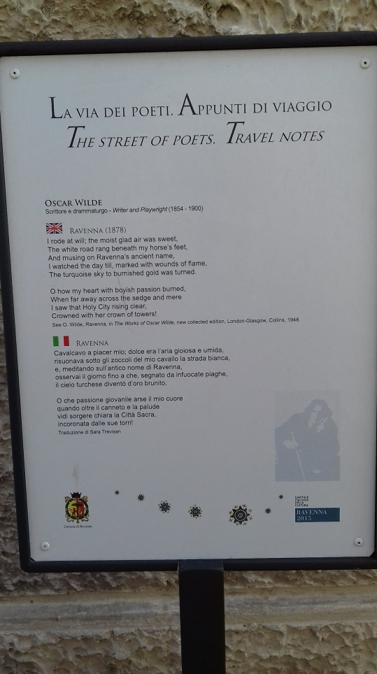 Poetry post on poetry walk, Ravenna, Italy